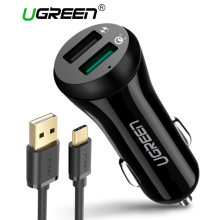 Ugreen 3A Car Charger 18W Quick Charge 3.0 Car-Charger with Charging Cable Fast Dual USB Mobile Phone Car Charger Quick Charger(China)