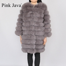 pink java QC8003 real fox fur coat long coat women winter thick fur hing quality(China)