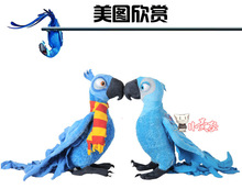 a pair of middle lovely parrot toy Rio movie Blu,Jewel plush toy gift about 38cm