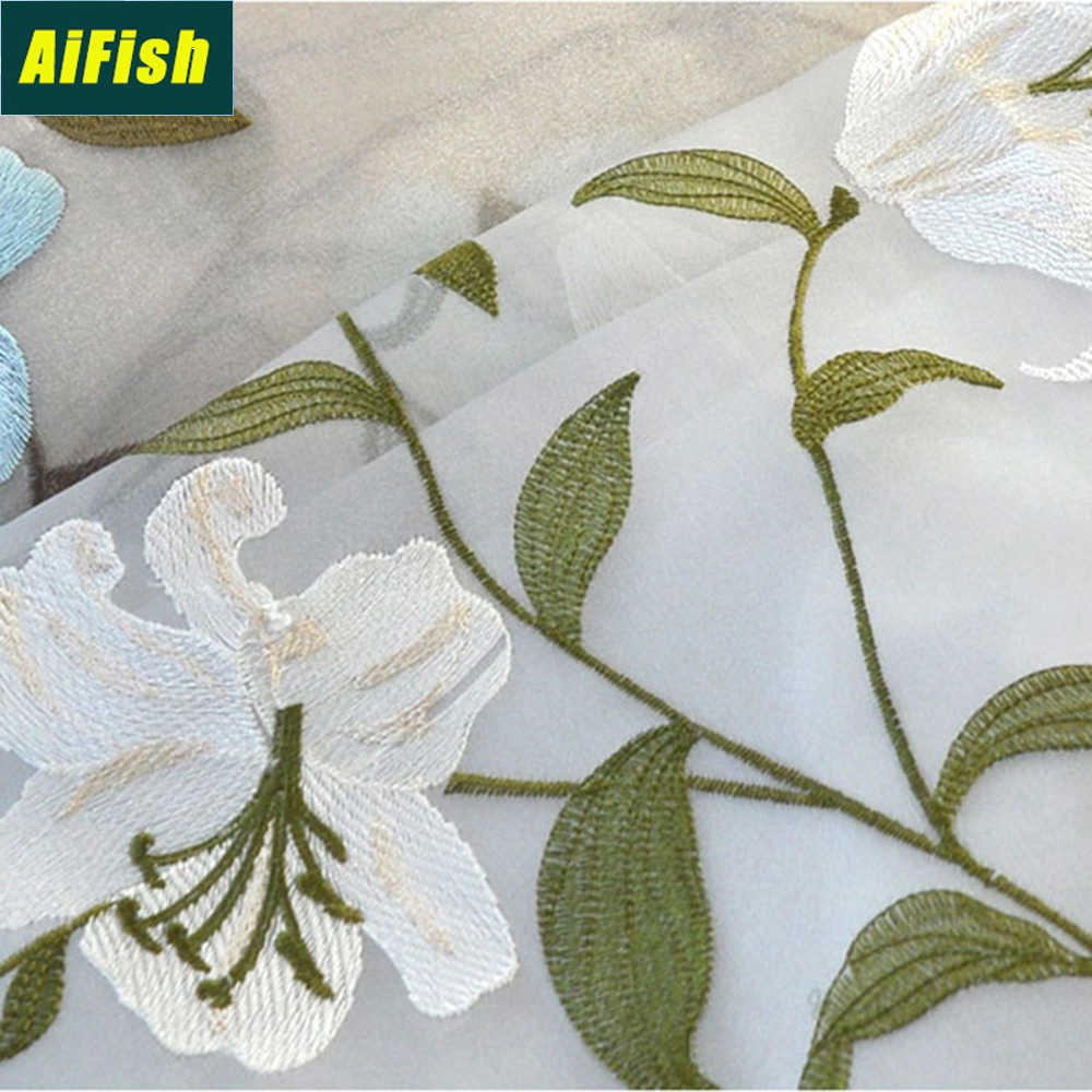 Floral Embroidered Green Leaves Sheer Curtains for Kids Room Elegant Ready Made Tulle Drapes Curtains for Living Room TM0472