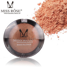 MISS ROSE 14g Face Long-lasting Blush Women Makeup Cosmetic Baked Cheek Color Bright Blusher Highlighter(China)