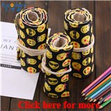 Emoshire Handmade QQ expression smile face pencils pencil case large capacity student canvas pencil pencil pencil color lead painting (1)