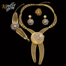 Top Quality Italy 750 Gold  Jewelry Set For Women Fashion Silver/Rose/Gold Color  Romantic  Earrings  Necklace 4PCS