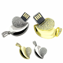 Metal Diamond jewelry Usb Flash Drive Memory 4g 8g 16g Crystal Heart usb flash drives 16 gb U Disk wedding memorabilia for gift