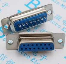 5PCS/LOT DB15 female serial hole base welding wire type 15 pin plug double blue plastic connector