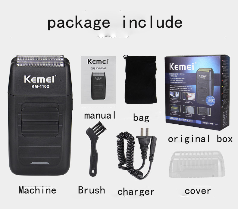 Kemei KM-1102 Rechargeable Cordless Shaver for Men Twin Blade Reciprocating Beard Razor Face Care Multifunction Strong Trimmer Barber (15)