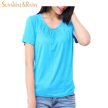 2016 summer Fashion women t-shirts Ladies loose short sleeve candy color tops and tees Comfortable Elastic tops plus size 6XL(China)