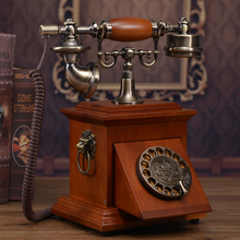 Solid wood Antique telephone vintage old fashioned Rotate the number plate phone 117A(China)