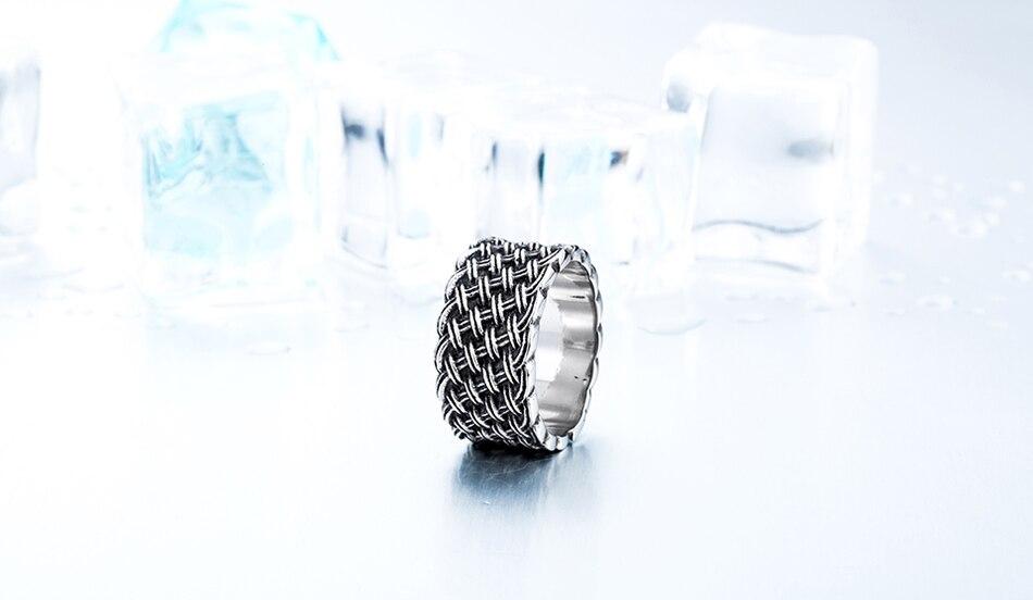 แหวนโคตรเท่ห์ Code 037 แหวนแนวโกธิคลายถักไวกิ้ง เท่ห์ดุแบบเรียบๆ สแตนเลส10