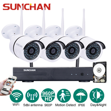 SUNCHAN 4CH CCTV System 960P NVR 4PCS 1.3MP 960P IR Outdoor P2P Wireless IP CCTV Camera Security System Camera Surveillance 1TB(China)