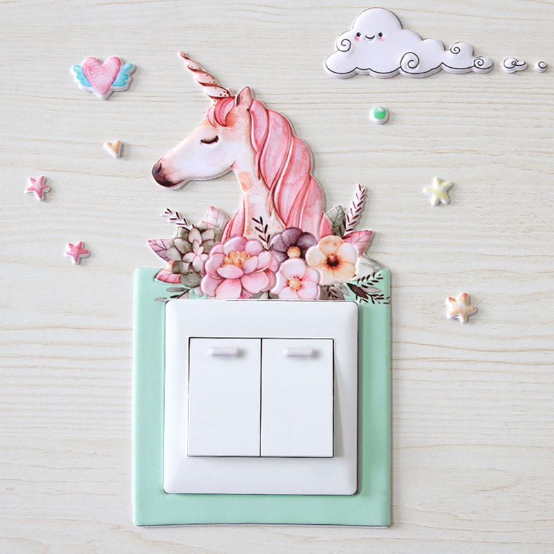 Animal Unicorn Pig Cover Cartoon Room Decor 3D Wall Silicone On-off Switch Luminous Light Switch Outlet Wall Sticker(China)