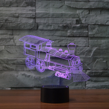 Train 3d Visual Locomotive Illusion Lamp Transparent Acrylic Night Light Led Fairy Lampa Color Changing Touch Table Bulbing(China)