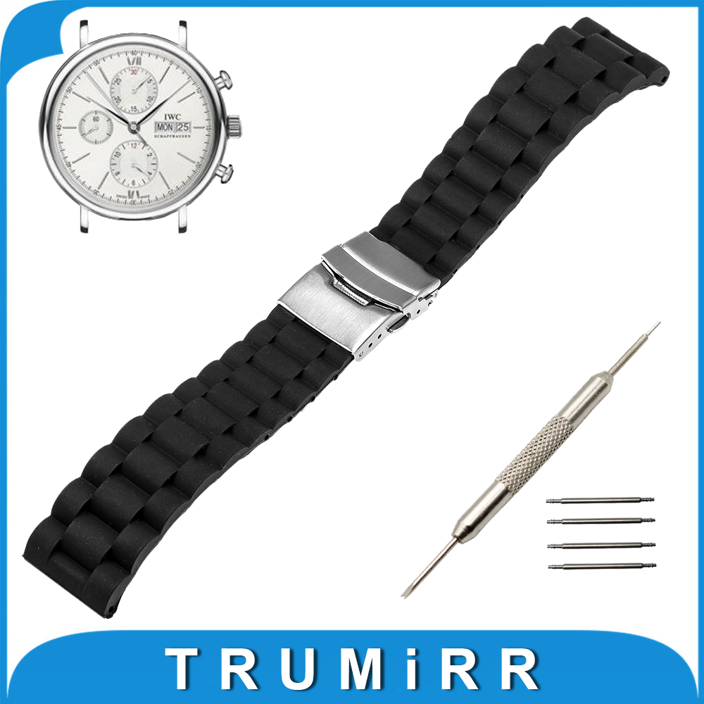 20mm 22mm Silicone Rubber Watchband + Tool for IWC Watch Band Stainless Steel Buckle Strap Resin Bracelet with Spirng Bar Black<br><br>Aliexpress