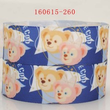 "NEW arrivals free shipping 50 yards 1 "" 25mm love blue background bear print grosgrain tape ribbon hair tie DIY"