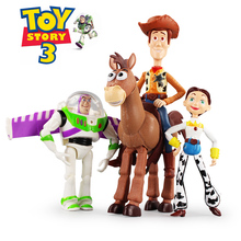 4pcs/set Disney Toy Story 3 Buzz Lightyear Woody Jessie PVC Action Figures Toys Dolls Kids Toys Children Birthday Gift