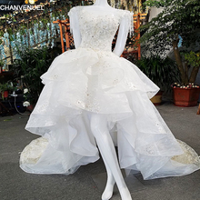 LS00186 robe de mariee lace beading flowers ruched zipper O-neck short sleeve short front long backwedding dresse real videos(China)