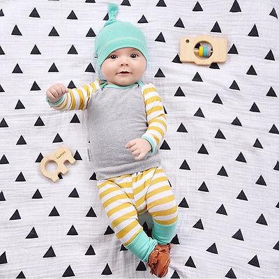 Newborn Baby Boy Girls Striped Clothes T Shirt Tops Pants collapse Hat Nightwear Bottom 3pcs Set Infant  boy Clothing Set 0-24M <br><br>Aliexpress
