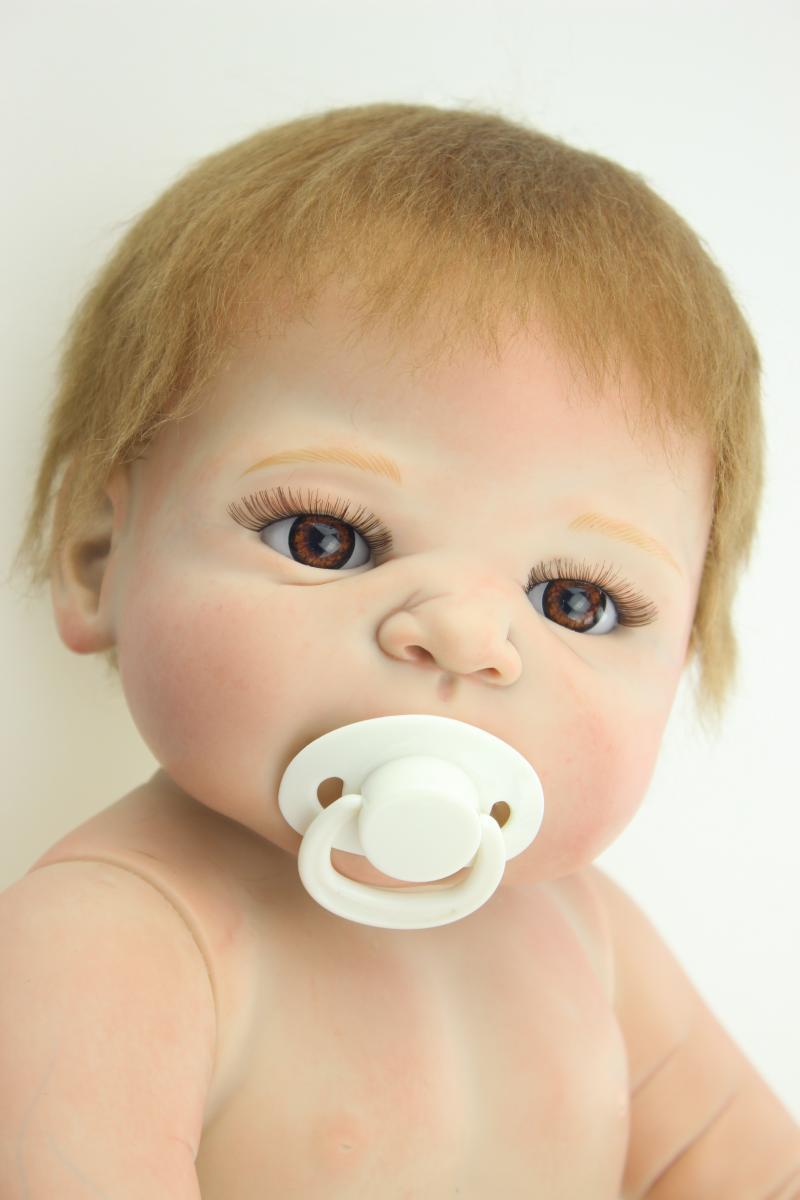 Full silicone vinyl 22 inch 58cm Reborn Boy Baby Doll Handmade Hard Silicone Lifelike Bebe Dolls Classic Kids Gifts Pacifier<br><br>Aliexpress