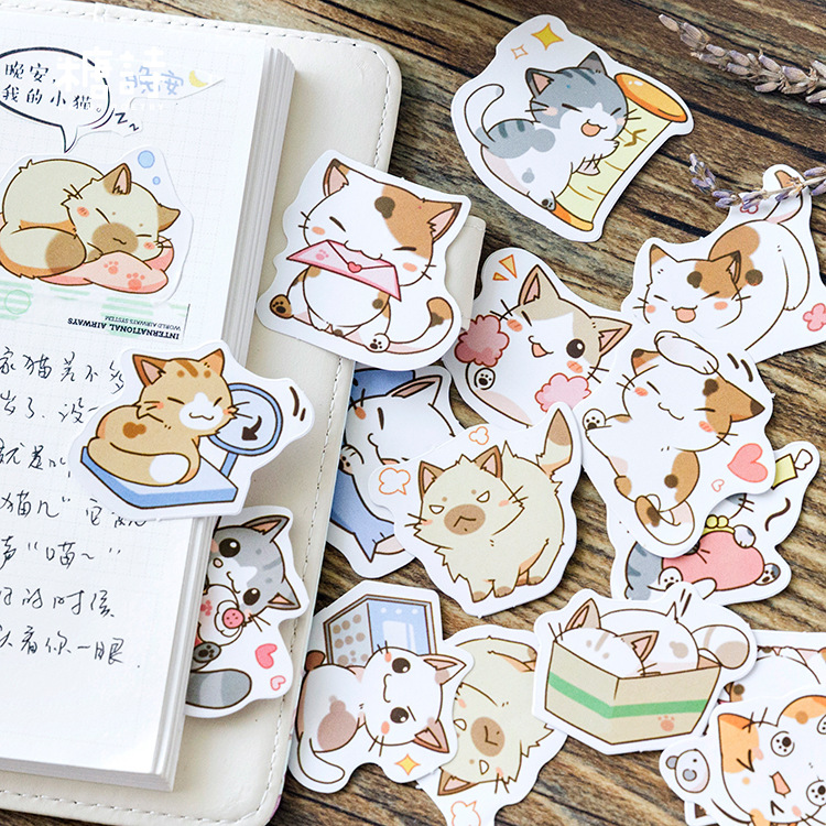 45 Pcs/box My Naughty Cats Diy Mini Paper Sticker Diary Album Scrapbooking Decoration Sticker Kawaii Stationery
