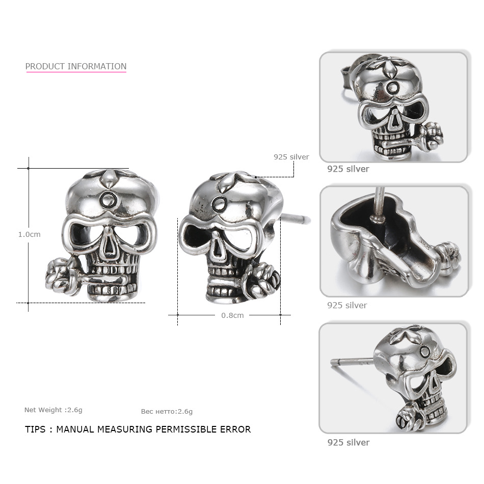 925-Sterling-Silver-Stud-Skull-Earrings-Vintage-Silver-Party-Unisex-Prevent-Allergy-Flower-Earrings-Say-You-T09