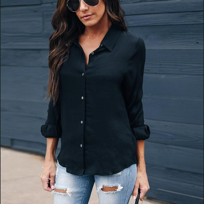 Beforw Winter Long Sleeve Blouse Shirt Women Turn Down Collar Black
