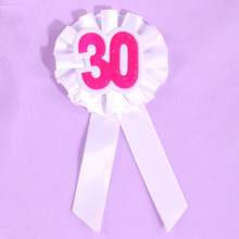 White yellow ribbon birthday favor pink 30 happy birthday brooch souvenir brooch event party badge 50% off if buy 5pcs