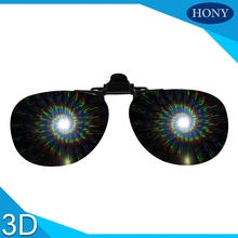 10pcs Wholesale Cheap Clip On Diffraction Glasses Over Prescription Glasses,3D Fireworks Gratings Spiral/13500 Lens(China)