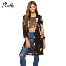 PEONFLY 2017 Spring Autumn Thin Long Cardigan Female Floral Print Three Quater Sleeve Cardigans For Women(China)