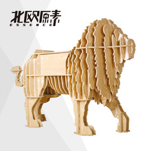 Nordic Scandinavian-style wooden bookshelf Lions console table Creative European home accessories wooden coffee tea table desk(China)