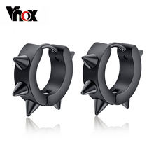 Vnox 2pair/lots hiphop small hoop earrings stainless steel punk biker black ear jewelry for boy girl