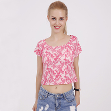 Women crop top 2017 summer short t shirt camiseta female o-neck sexy loose soft blusas short batwing sleeve tees shirts(China)