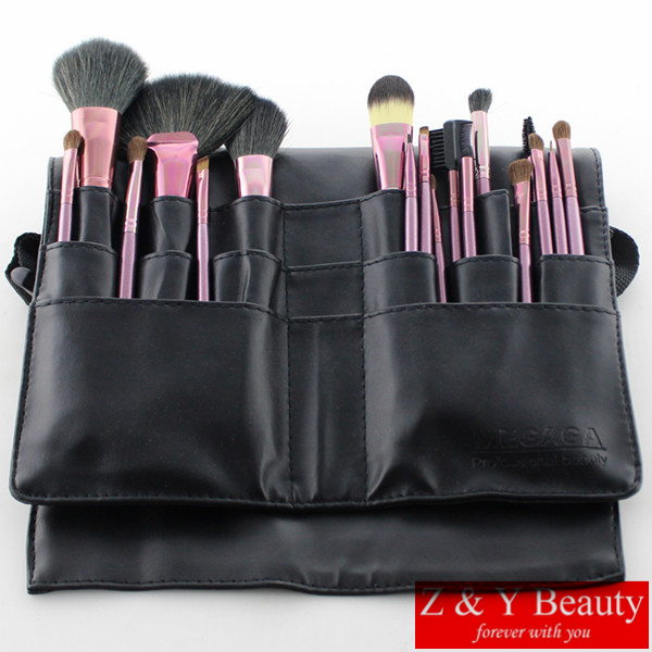 Free Shipping 18 pcs Professional Makeup Brush Set,High Quality Goat Hair and Pony Hair with Waist Brush Bag<br>