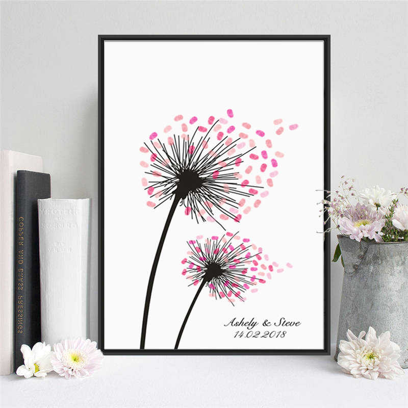 HAOCHU Dandelions In The Wind Flower Canvas Painting Wedding Fingerprint Tree Signature Guest Book Wedding Party Graduation Gift