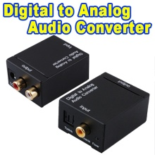 Digital Optical Coaxial Toslink Signal to Analog Audio Converter Plug Digital to Analog Audio Adapter 3.5mm RCA L/R Black