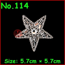 1 pcs/lot Five-pointed star White Hotfix Rhinestones Motif Iron On Crystal Patches Jewelry Children Women Wedding Dress Clothing