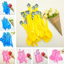 30pcs/set Puppy Patrol Sofia Kitty Party Supplies Disposable Cartoon Plastic Knife Fork Spoon Kids Birthday Holiday Dinnerwares(China)