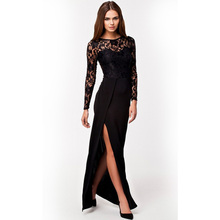 Ankle-Length Women Clothing Winter Dress Free Shipping Fashion Long Sleeve Black Lace Maxi Dresses