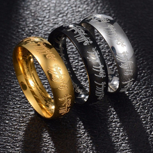 2017 Midi Ring Tungsten One Ring of Power Gold the Lord of Ring Lvers Women and Men Fashion Jewelry Wholesale Free Drop ship(China)