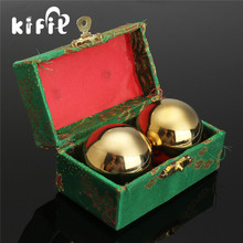 KIFIT 2pcs Solid Golden Chinese Healthy Exercise Therapy Stress Massage Metal Balls With Box Baoding Ball Health Care Tool(China)