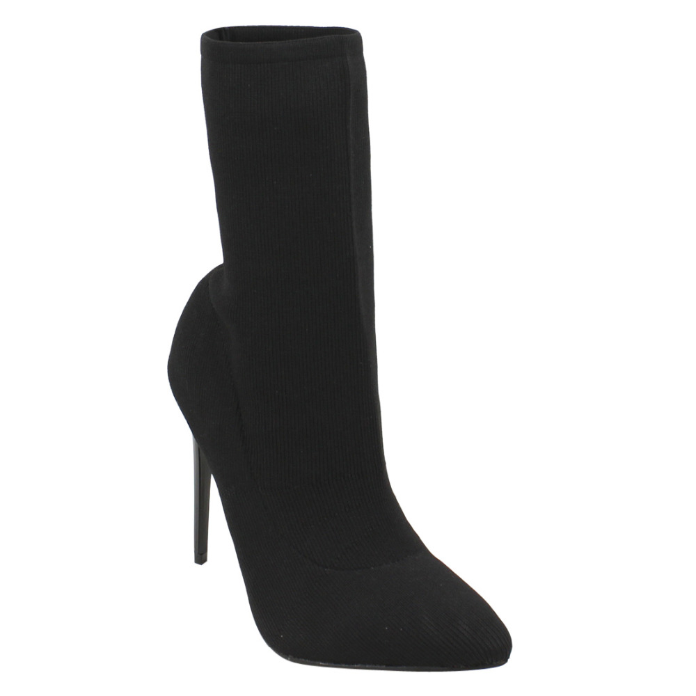 Beston EJ68 Womens Stretchy Pull On Ankle High Top Stiletto Heel Sock Booties<br>