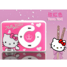 100% New Band Hot sale 1pcs/lot cheapest fashion mini clip hello Kitty MP3 player support TF card No Box 5 colors Free shipping