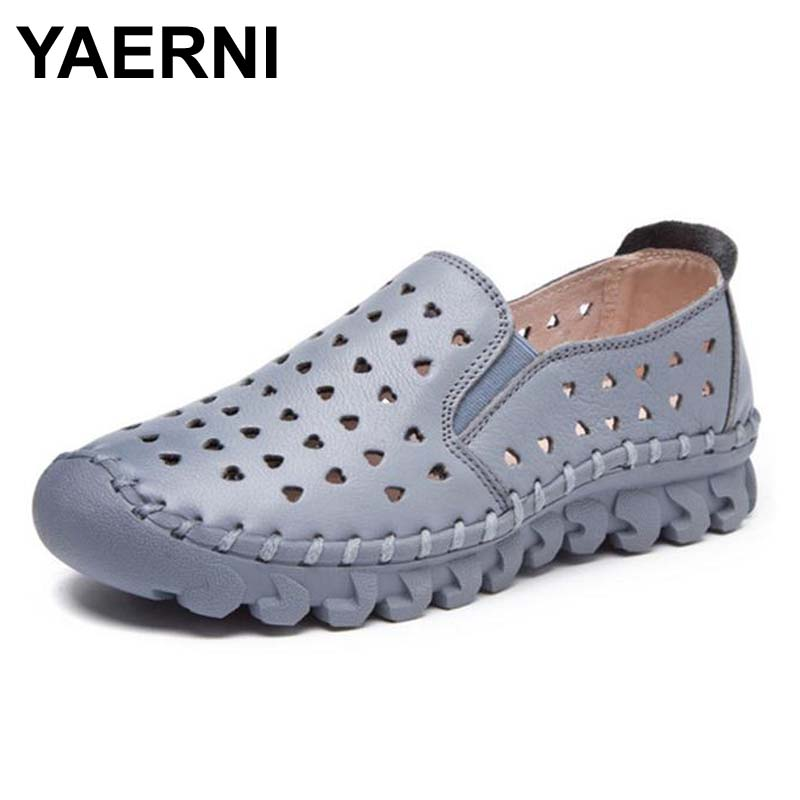 YAERNI Summer Shoes Women Leather Flat Comfort Breathable Women Moccasins Loafers Fashion Handmade Shoes Woman Air<br>