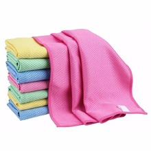 6 Pieces Diamond Lattice Microfiber Water Magnent Drying Towels Glass Dust Cleaning Cloths Kitchen Dish Washing Mats 40x40cm