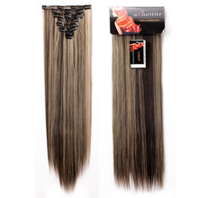 P4/24 Dark Brown Mix Ash Blonde 8 Piece 18Clips Clip in on Hair Extensions Full head Hair Extension Real Thick Hairpieces