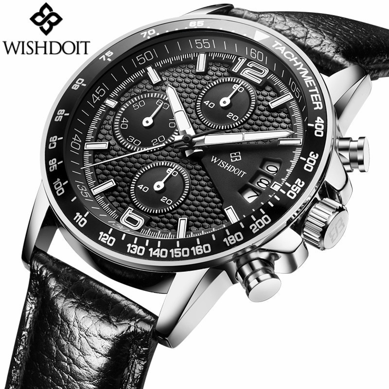 Brand WISHDOIT 2017 New Mens Watches Quartz Men Real Three Dial Luminous Waterproof 30M Outdoor Sports Leather Watch<br>
