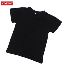COSPOT Baby Boys Girls Summer T-shirt Kids Cotton Short-sleeved T Shirt Kids Plain Color Black Shirt 1-6Yrs 2017 New Arrival 35D(China)