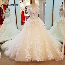 LS85679 alibaba China bridal gowns ball gown lace up back short sleeves off the shoulder 3D flowers wedding dresses real photos(China)