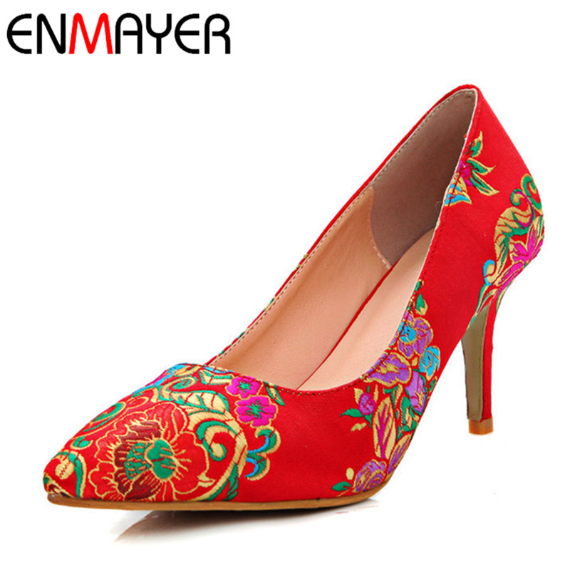 ENMAYER Vintage China Style Red Bridal Shoes Woman Satin Embroidered Shoes Sexy High Heel Pumps Women 9.5cm 7.5cm 5.5cm 2cm Heel<br>