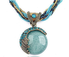 Ethnic Jewelry Bohemian Style Maxi Necklace Created Gemstone Pendant Necklace With Multilayer Chain Turkish Jewelry 2N302