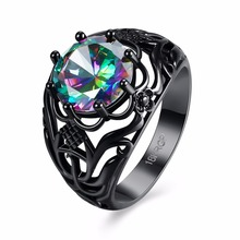 JEXXI Black Gold Color Ring Hollow Plant Design Rainbow Rhinestone For Costume Ball Dress Entertainment Wedding Party Anel